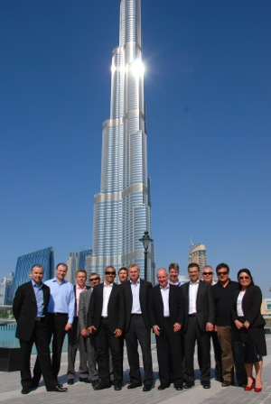 My former life: In Dubai for a global board meeting. That's me on the far right - the only woman, in a black suit with red patent leather stilettos!