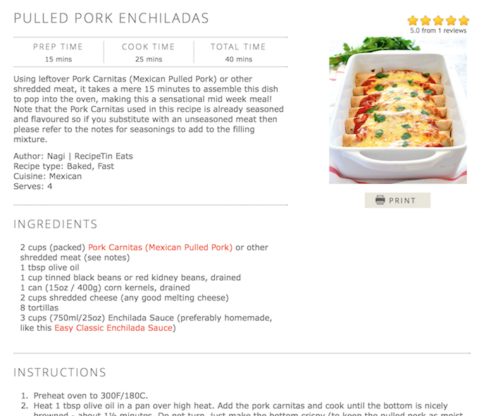 Pulled Pork Enchiladas Recipe Hyperlinking Example