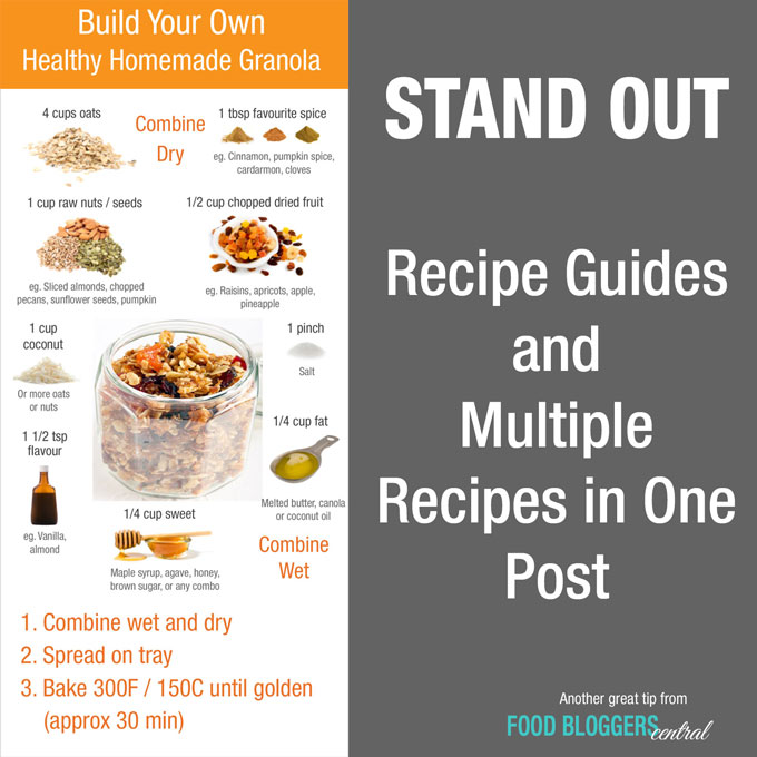 "Recipe ""formulas"" and multiple recipes condensed into a single post are a great way to do something different to stand out."