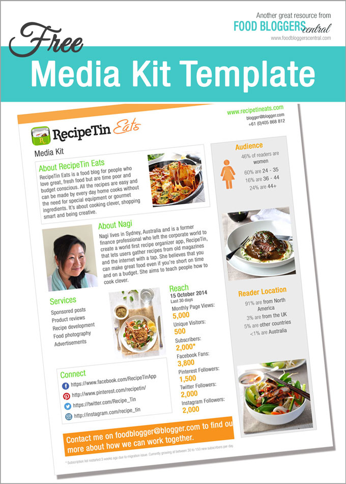 Media kit template free food bloggers central for Advertising media kit template