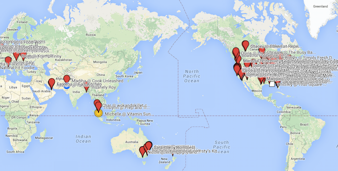 Map of Food bloggers Around the World