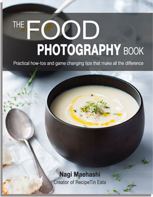 The Food Photography Book - by Nagi, creator of RecipeTin Eats. 180 pages, highly practical, easy to follow and jam packed with game changing tips.