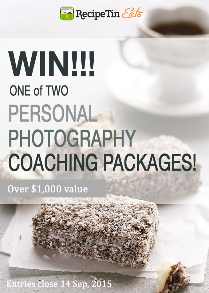 Win a PERSONAL FOOD PHOTOGRAPHY Coaching Package with Nagi from RecipeTin Eats! $500 value each!